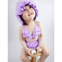 泡温泉泳衣 韩风泳衣套装 女童泳衣 婴幼儿比基尼 女宝泳衣三件套