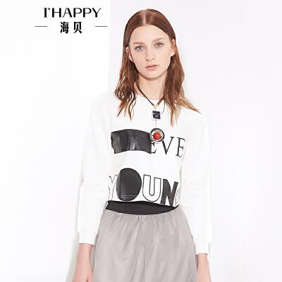 海贝秋款女装新款上衣 时尚字母印花圆领长袖短款T恤