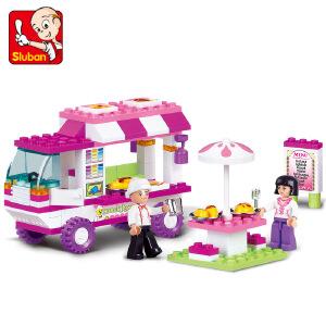 【当当自营】小鲁班粉色梦想女孩系列儿童益智拼装积木玩具 快餐车M38-B0155