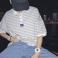 新款撞色条纹polo衫男士青年半袖韩版宽松翻领短袖体恤潮
