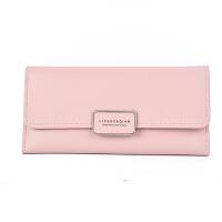 韩版潮女士钱包长款新款小清新女学生个性钱夹三折软皮夹 浅粉红 《方标》