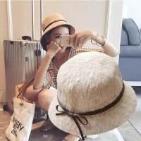 户外出游防晒草帽渔夫帽子女 韩版时尚皮带遮阳帽女盆帽蝴蝶结英伦礼帽