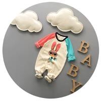 婴儿连体衣春秋纯棉新生儿衣服拼色哈衣0-3-6个月潮可开裆外出服