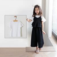 女童短袖t恤9-11周岁纯棉中童宽松喇叭袖韩国小女孩夏季公主上衣