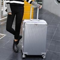 铝框拉杆箱万向轮24男复古行李箱密码女旅行箱登机箱包26学生28寸 银色 【复古豪华铝框】