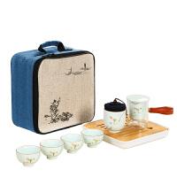 旅行功夫茶具套装干泡茶盘一壶四杯陶瓷茶杯户外旅游车载便携包
