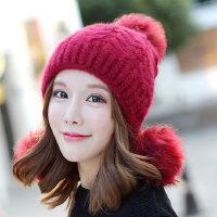 纯色韩国青年护耳帽保暖针织帽帽子女韩版新款兔毛毛线帽