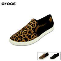 Crocs卡骆驰女鞋 豹纹潮流女士休闲平底鞋春夏帆布鞋单鞋|203545  女士都会街头便鞋