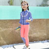 儿童泳衣防晒套装长袖长裤保暖速干女童中大童学生女孩潜水服 波浪毛球 3XL