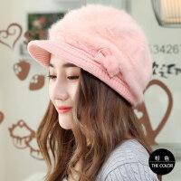 兔毛帽子女士贝雷帽毛线帽针织帽加厚保暖帽韩版休闲百搭帽