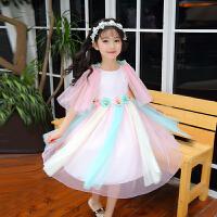 女童夏装洋气连衣裙儿童中大童披肩彩虹纱裙公主裙子