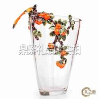 喜事连年人造玻璃水晶花瓶摆件家居客厅装饰品摆设新婚礼品结婚礼物 创意礼品