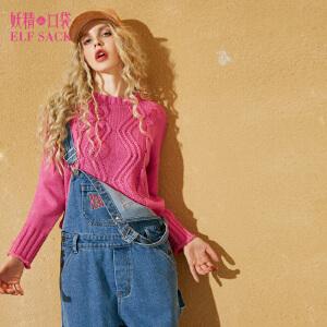 妖精的口袋八月迷情秋冬装新款圆领宽松短款纯色套头毛衣女
