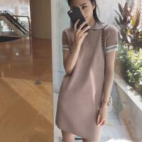 夏季女装针织衫中长款Polo连衣裙冰丝短袖直筒显瘦女T恤学院风