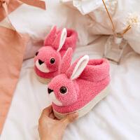 天天一家三口棉拖鞋包跟女童小公主卡通可爱兔子室内男孩 165码【适合脚长15CM 】