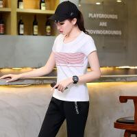 纯棉短袖T恤五分裤情侣跑步运动装诚品运动衣加大码休闲套装女夏 女/白色 M