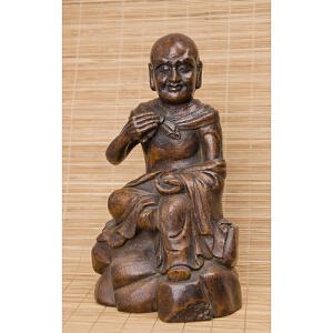 X66 明《竹雕罗汉》(纯手工雕刻、雕工巧妙、栩栩如生、包浆丰厚)