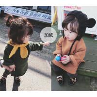 女童开叉圆领卫衣2017冬季装新款韩版小女孩加厚保暖上衣