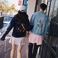 新款情侣牛仔夹克秋新韩版宽松花卉刺绣风水洗牛仔夹克男外套