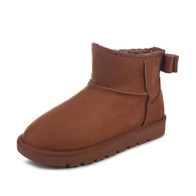 秋冬经典雪地靴女短靴平底短筒加厚保暖纯色休闲学生棉鞋 品质保证 售后无忧 支持货到付款