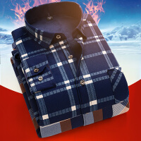 冬季新款保暖衬衫男加绒加厚中年休闲长袖格子加棉衬衣宽松爸爸装