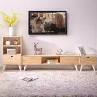 简约电视柜组合简易日式现代卧室北欧实木小户型客厅电视机柜地柜 1.8整套装清漆款 整装