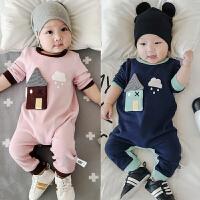 宝宝连体衣秋装纯棉长袖爬服新生儿0-3个月可开裆哈衣婴儿衣服潮6