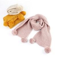 户外保暖儿童毛球毛线围巾纯色针织围巾韩版男女童围脖潮