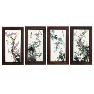 梅兰竹菊瓷板画四条屏