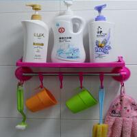 带挂钩强力吸盘置物架/卫生间用品挂钩 浴室毛巾架 吸盘收纳架 玫红色