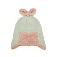 蝴蝶结毛线帽套头帽针织宝宝护耳防风帽户外保暖帽棉内里
