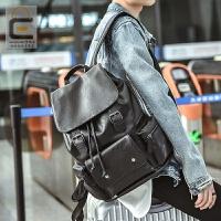 双肩包男韩版皮质时尚个性休闲潮流背包学生大书包男士旅行英伦包 黑色 全PU皮