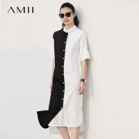 【会员节! 每满100减50】Amii极简chic港味设计感连衣裙2018夏季新款撞色拼接不对称中长裙