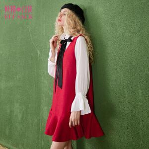 妖精的口袋花园女主秋装新款荷叶边衬衫V领系带连衣裙套装女