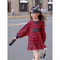 女童连衣裙秋装韩版儿童装洋气春大童长袖条纹针织裙子潮