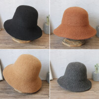 日系羊毛呢女士毛线盆帽 韩版百搭潮折叠帽子 新款针织保暖帽子渔夫帽女