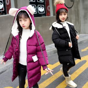 乌龟先森 儿童棉衣 女童中长款连帽翻领拉链衫冬季新款韩版儿童时尚休闲舒适百搭中大童棉服