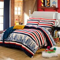 法莱绒四件套加厚卡通法兰绒毛毯珊瑚绒纯色被套秋冬床上1.82.0m