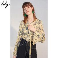 【不打烊价:209.7元】 Lily春新款女装系飘带黄色碎花荷叶边长袖雪纺衫118310C8663