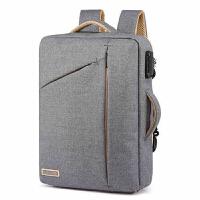 男士双肩电脑包多功能青年15.6寸电脑包防盗帆布书包男商务背包潮 灰色