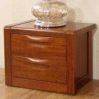 现代中式实木家具床边柜双抽胡桃木全实木床头柜
