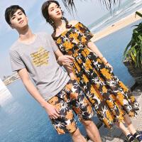 情侣装夏装T恤女长裙套装男短裤沙滩海边度假两件套潮