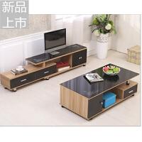 钢化玻璃电视柜简约现代茶几组合套装伸缩木质电视机柜客厅电视桌定制定制 组装