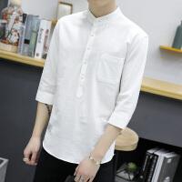 夏季新款男士短袖�r衫青少年�n版潮男�色�r衣�l型��七分袖寸衫潮