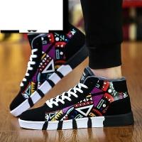 高帮板鞋男韩版潮休闲鞋子时尚涂鸦加绒男鞋秋季系带运动学生男士工装靴子