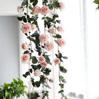 澳洲玫瑰花藤仿真藤条塑料假花藤蔓墙壁挂串管道墙面软装饰绿植