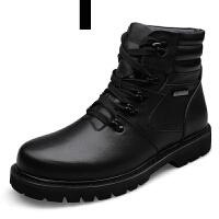 潮牌头层牛皮马丁靴男士短靴皮靴子鞋棉英伦军靴工装高帮潮雪地冬季加绒保暖大码