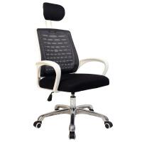 电脑椅家用办公椅简约弓形椅网椅座椅宿舍学生椅职员椅升降转椅子 升级版白框黑色 头枕款 铝合金脚 固定扶手