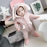 冬季女宝宝3幼儿冬装连体衣6个月加厚加绒外出哈衣男婴儿棉袄