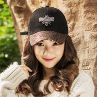 户外休闲刺绣遮阳帽时尚亮片帽子鸭舌帽女士棒球帽